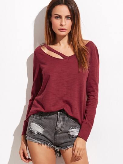 Burgundy Cutout V Neck Slub T-shirt