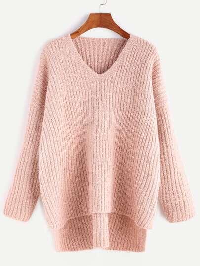 V Neck Drop Shoulder Slit Side High Low Sweater