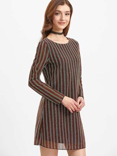 Multicolor Vertical Striped Tie Keyhole Back  Long Sleeve Dress