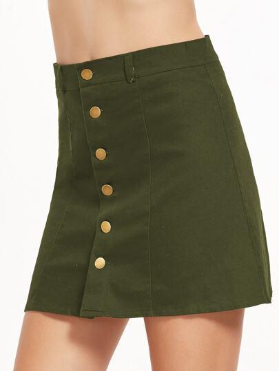 Falda con una botonadura línea A - verde militar