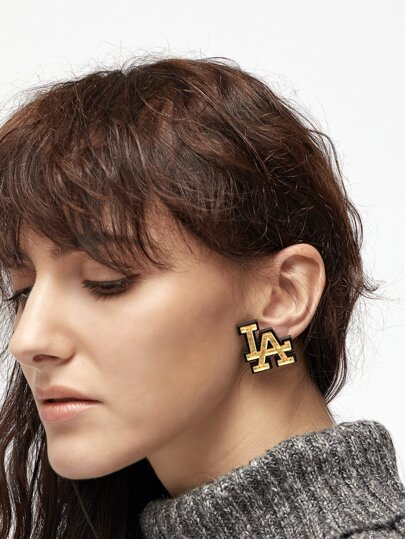 Gold Letter Stud Earrings