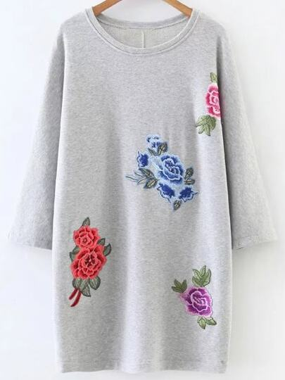 Grey Flower Embroidery Round Neck Dress