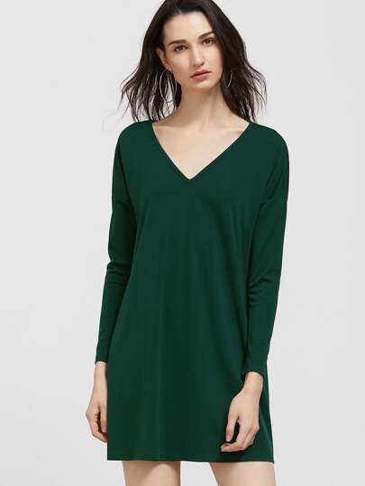 Green V Neck Drop Shoulder Swing Tee Dress With Pocket