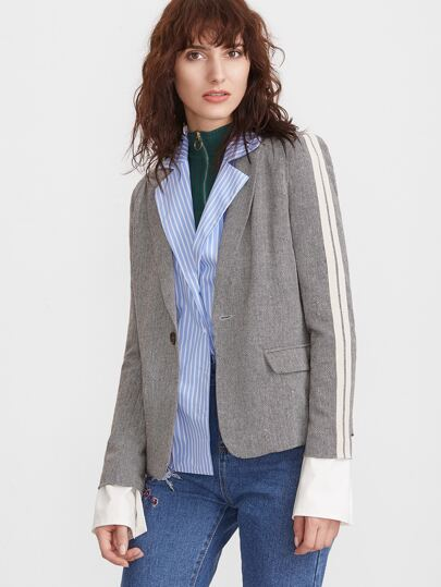 Blazer de tweed con estampado chevron - gris