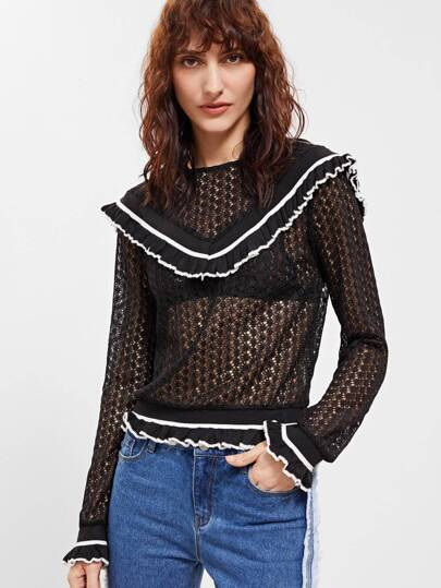 Black Striped Ruffle Trim Hollow Out Crochet Sweatshirt