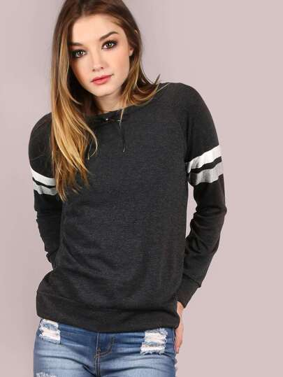 Varsity Knit Pullover CHARCOAL