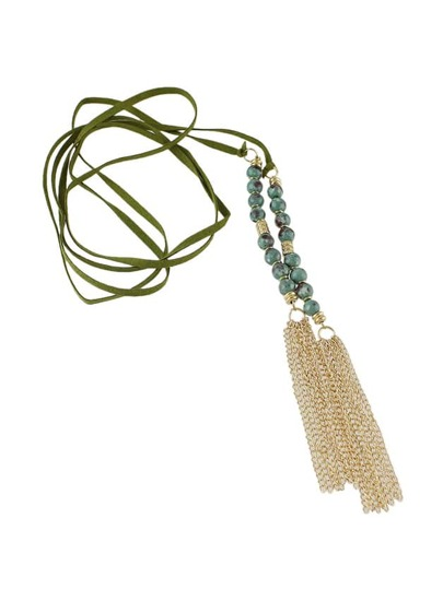 Green Color Beads Tassel Long Suede Chain Necklaces