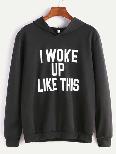 Black Hooded Slogan Print Sweatshirt