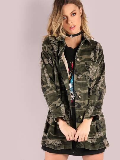 Distressed Denim Camouflage Jacket CAMOUFLAGE