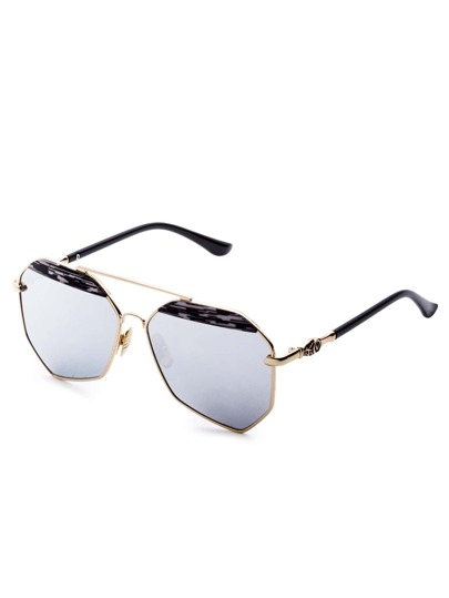 Silver Mirrored Lenses Brow Bar Hexagon Aviator Sunglasses