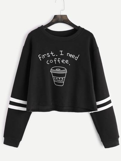 Black Printed Striped Trim Crop Sweatshirt