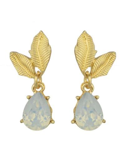 Gold Color Rhinestone Flower Shape Dangle Earrings