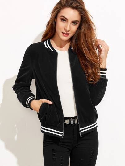 Black Striped Trim Zip Up Velvet Bomber Jacket