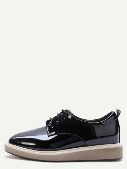 Cales chaussures en cuir verni à lacets -noir
