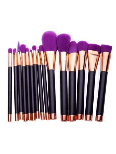 Fourrure pourpre de maquillage professionnel Brush Set 15PCS