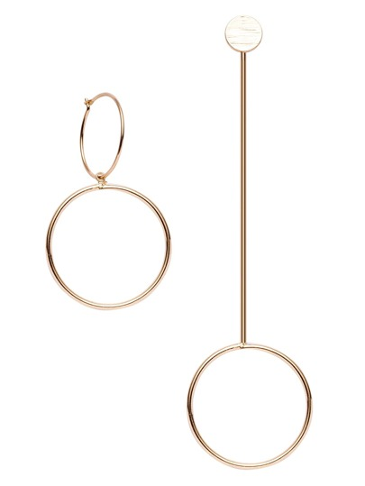 Gold Plated Hollowed Circle Asymmetry Geo Earring