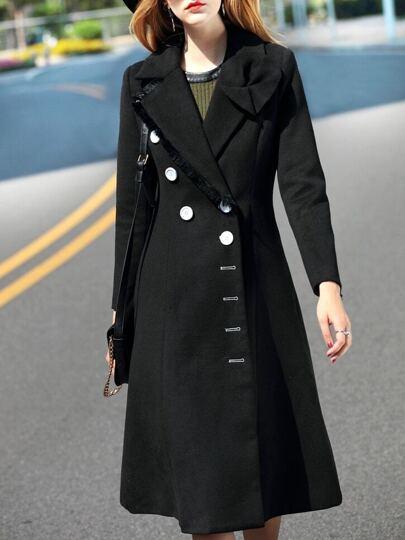 Black Lapel Pockets Long Coat