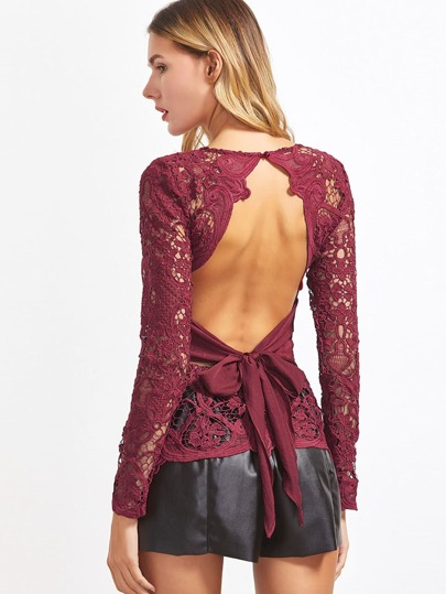 Bow Tie Open Back Hollow Out Embroidered Lace Top