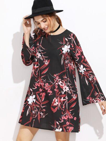 A-Linie Kleid  Bellärmel botanischer Druck-schwarz