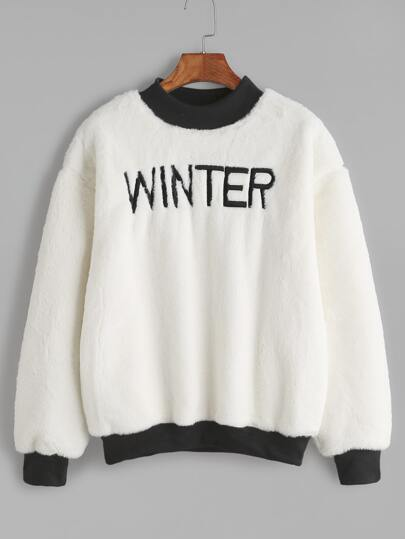 Contrast Ribbed Trim Letter Embroidered Fuzzy Sweatshirt