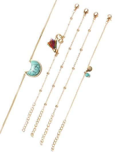 Halskette Set mit Tone Perlen Türkis Anhänger-gold