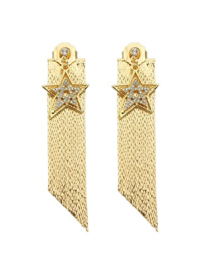 Orecchini Con Catena Lunga Forma Stella - Oro