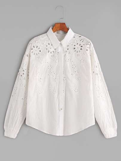 Beige Eyelet Flower Embroidered Shirt