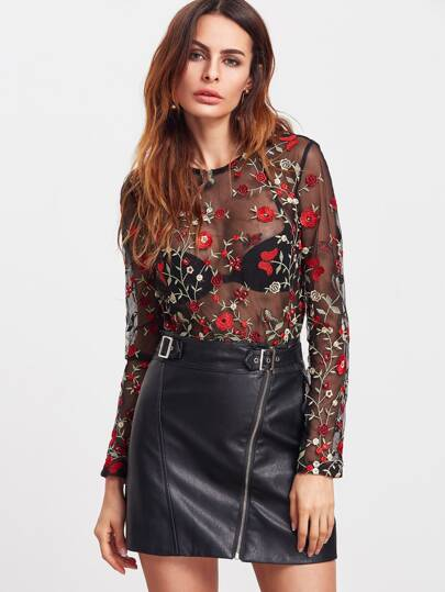 Flower Embroidered Sheer Mesh Bodysuit