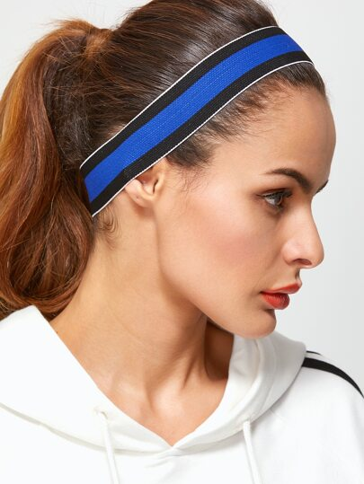 Blue And Black Striped Sporty Elastic Headband