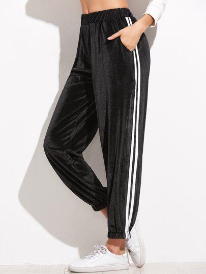 Black Striped Side Velvet Pants