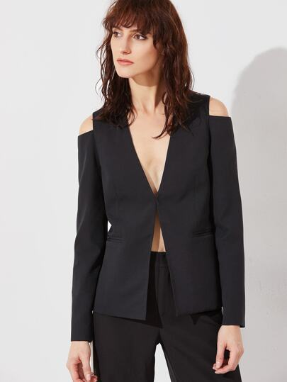 Black Cutout Shoulder Hook And Bar Blazer