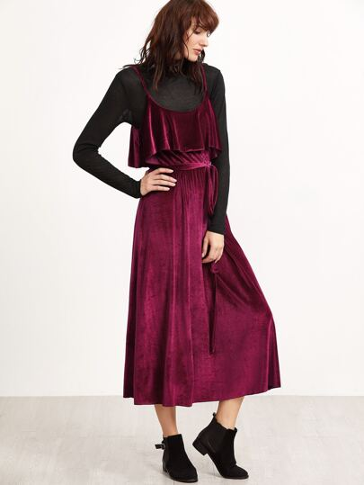 Burgundy Belted Ruffle Velvet Cami Dress