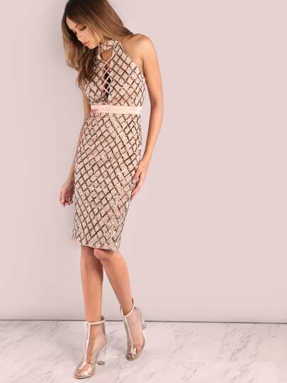 Cross Bust High Neck Sequin Midi Dress ROSE GOLD