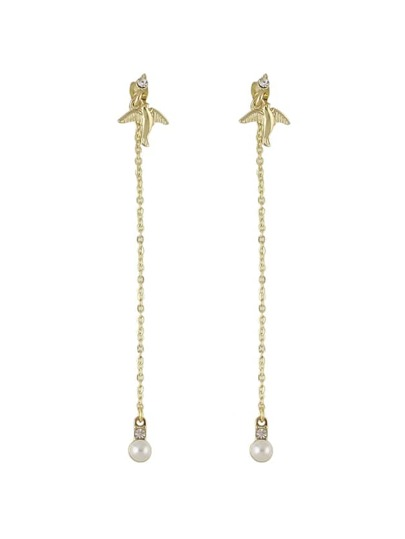 Gold Color Fake Pearl Long  Earrings