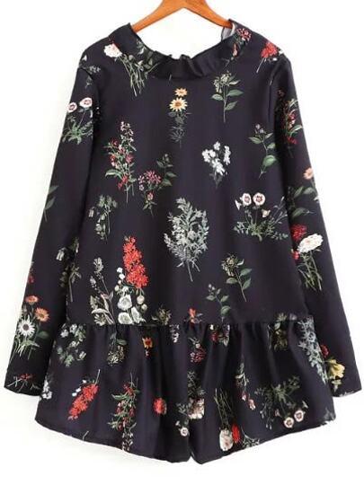 Чёрный модный комбинезон с цветочным принтом