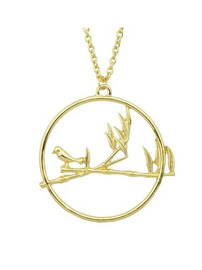 Collier long en forme d'oiseau rond large couleur blond