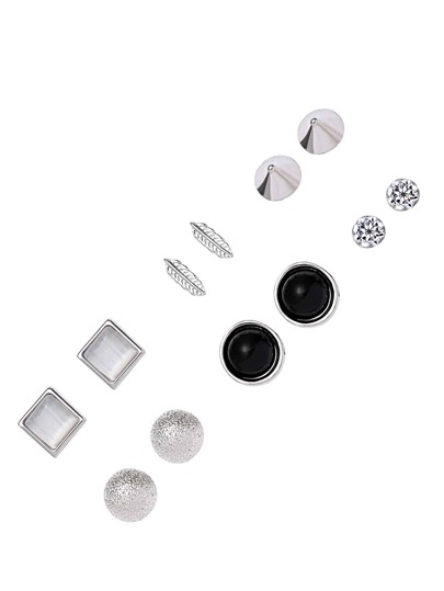 Silver Tone Multi Modelling Earring Set 6PCS