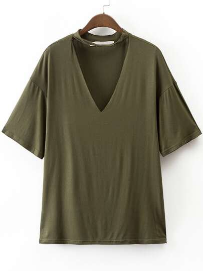 Army Green Choker V Neck Casual T-Shirt