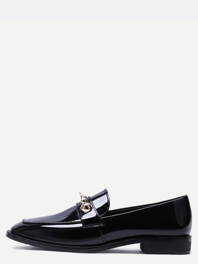 Chaussures plates embellies en métal avec bout pointu - noir