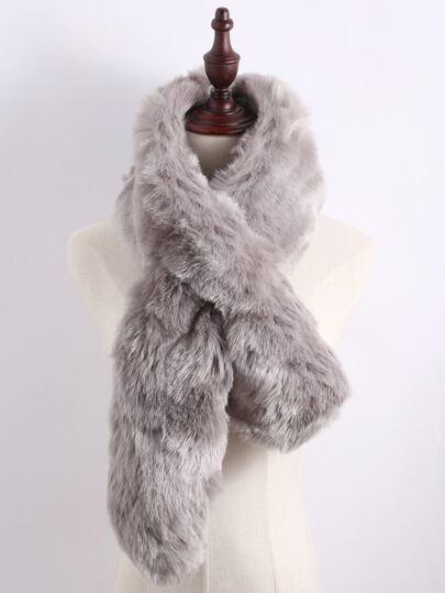 Grey Faux Fur Plain Wide Stole