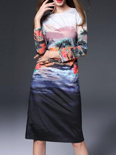 Robe fourreau à col roulé imprimé -multicolore