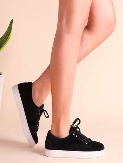 Black Lace Up Rubber Sole Low Top Sneakers