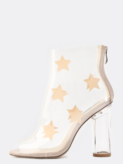 Transparent Star Booties NUDE
