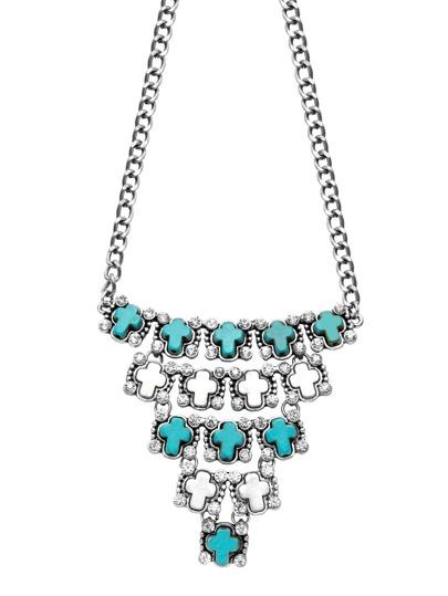 Silver Tone Cross Inlay Rhinestone Boho Necklace