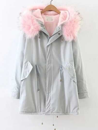 Light Blue Zipper Coat With Faux Fur Hooded