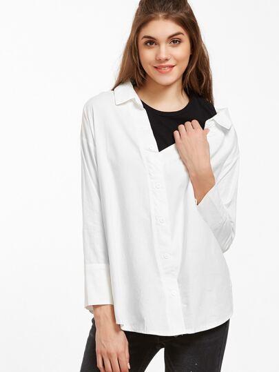 Blusa en contraste 2 en 1 - blanco