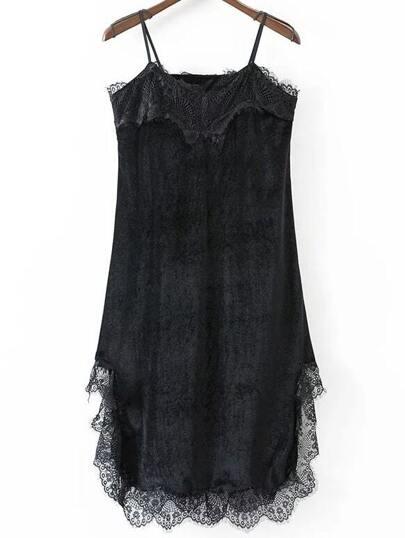 Black Eyelash Detail Velvet Cami Dress