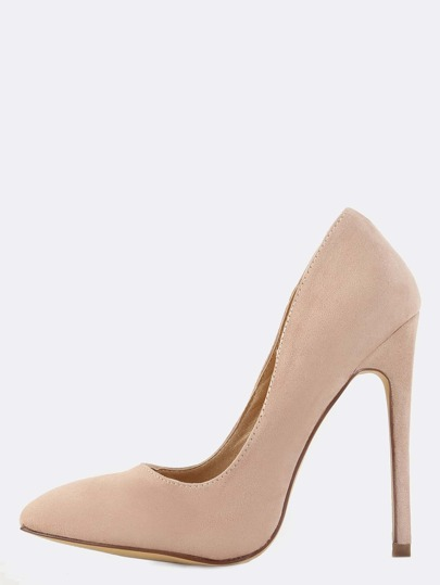 Pointed Toe Stiletto Suede Pumps NUDE