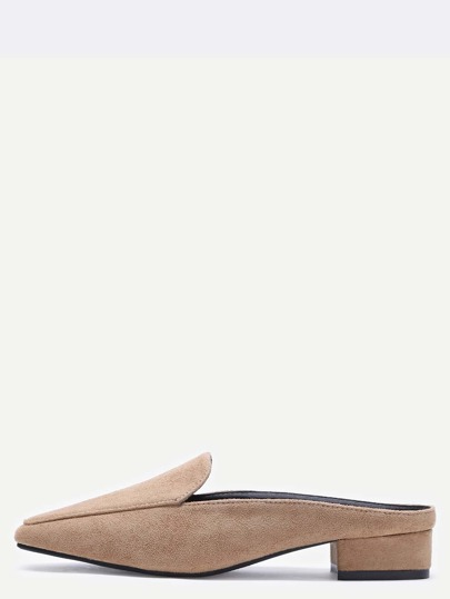 Camel Suede Square Toe Block Heel Loafers