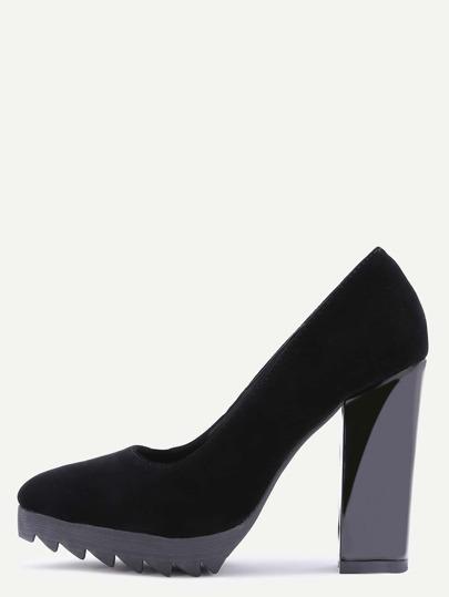 Zapatos de tacón de ante en punta - negro